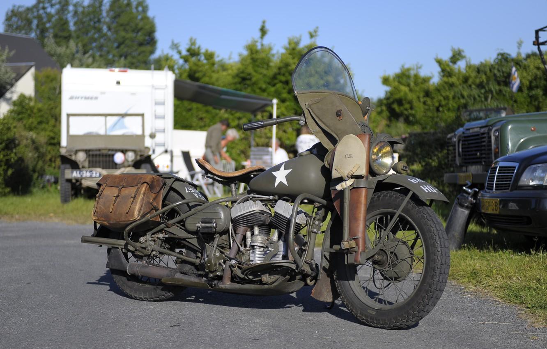 Фото обои войны, мотоцикл, военный, Harley-Davidson, мировой, Второй, времён, WLA