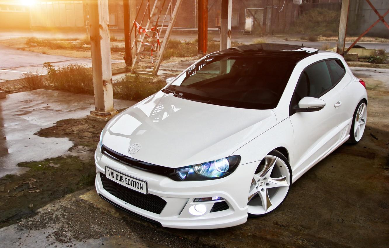 Фото обои белый, тюнинг, Volkswagen, Scirocco, Dub Edition tuned