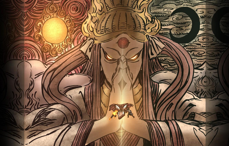 Фото обои солнце, месяц, наруто, метки, манга, naruto, art, саске, печать, ооцуцуки кагуя