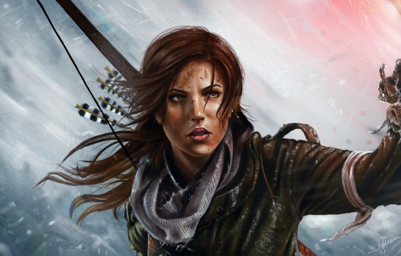 Фото обои взгляд, огонь, игра, лук, арт, факел, Tomb Raider, Lara Croft, девущка