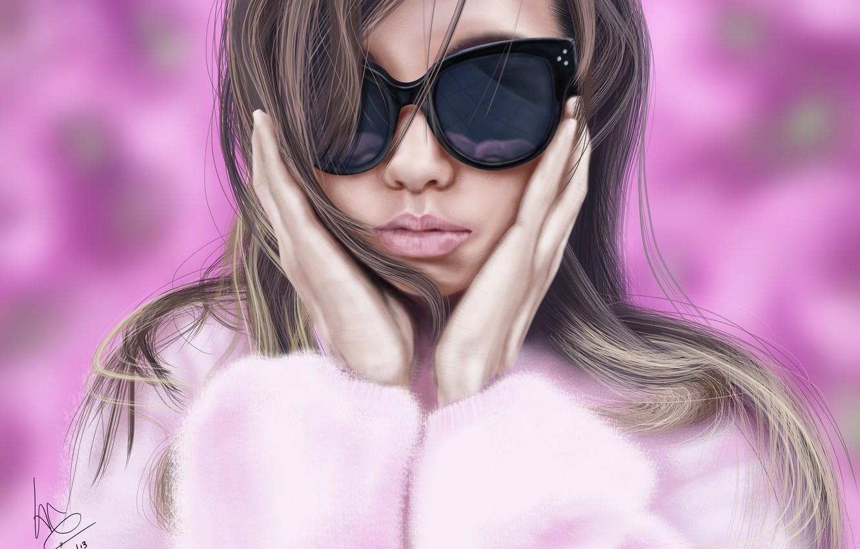 Фото обои девушка, очки, шуба, розовый фон, art, glitchgee