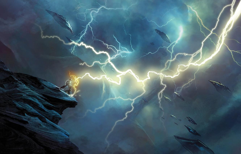 Фото обои энергия, тучи, обрыв, молния, Маг, летательные аппараты