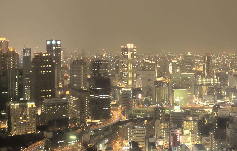 Фото обои Небо, Дорога, Огни, Ночь, Город, Япония, Панорама, Движение, Небоскребы, Japan, Wallpapers, Multi Monitors, Osaka, Осака