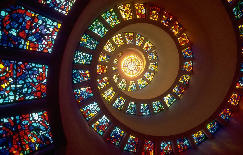 Фото обои свет, окна, спираль, витражи