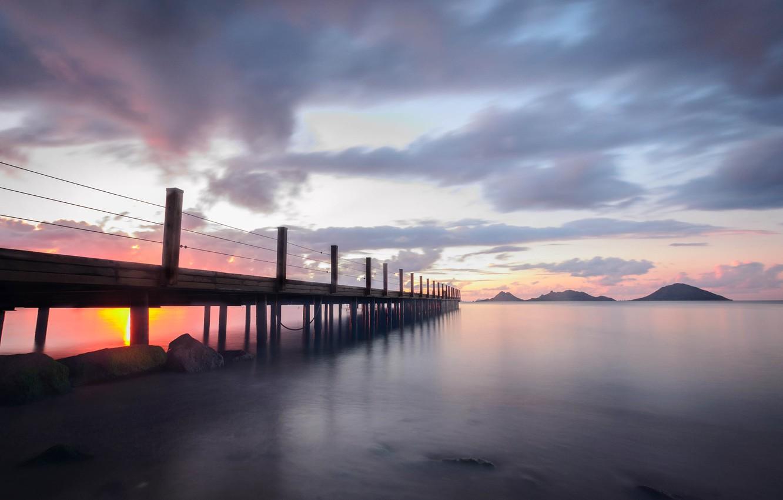 Фото обои море, облака, закат, мост, Турция, Бодрум