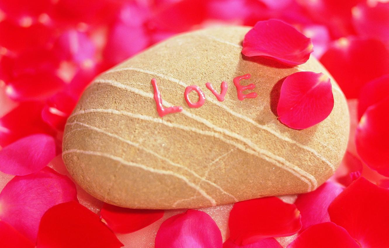 Фото обои любовь, камень, лепестки, признание