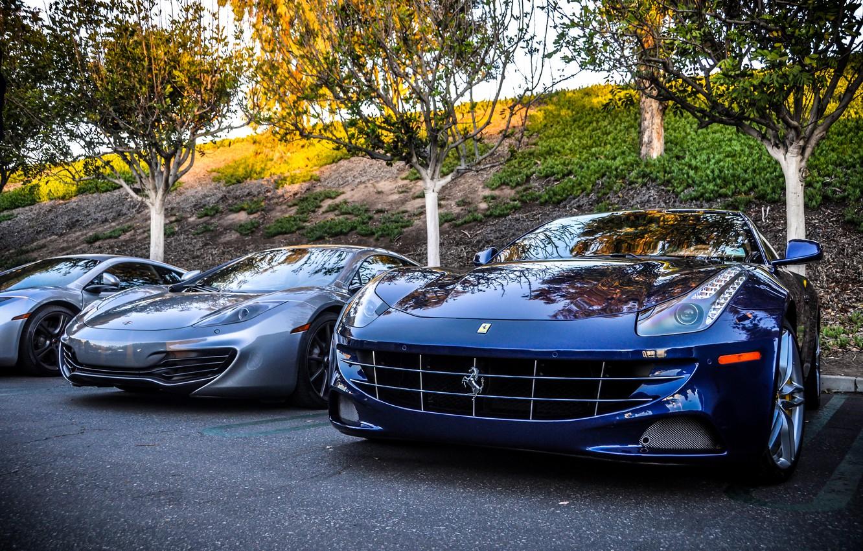 Фото обои McLaren, Ferrari, Фары, MP4-12C, Supercars, Автомобили, Суперкары
