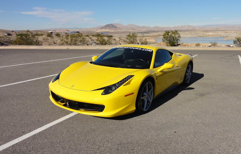 Фото обои ferrari, 458, italia, yellow
