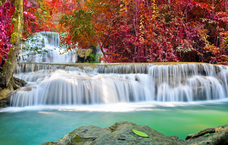 Фото обои river, water, autumn, waterfall, flow, emerald