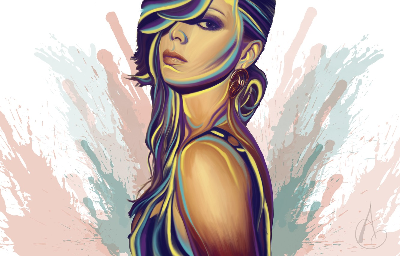 Фото обои взгляд, девушка, лицо, фон, краски, волосы, серьги, арт, живопись