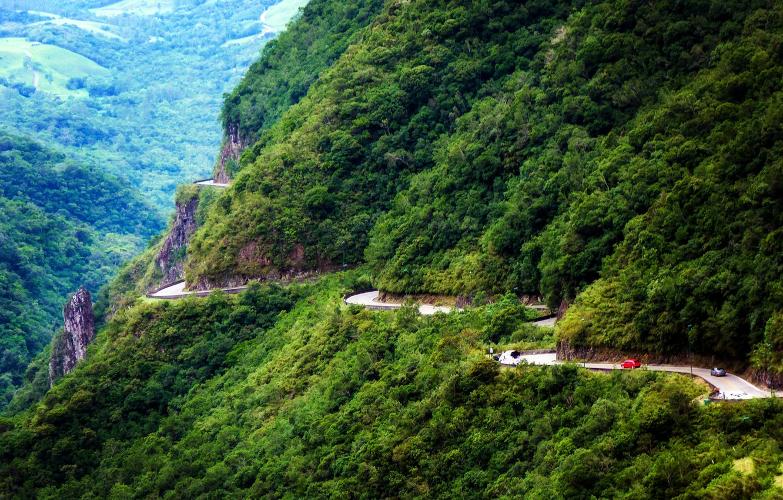 Фото обои дорога, лес, горы, скалы, Бразилия, Serra do Rio do Rastro