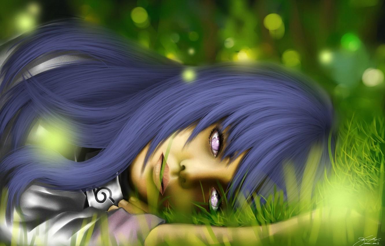 Фото обои трава, девушка, арт, naruto, лежа, hyuuga hinata, hinata