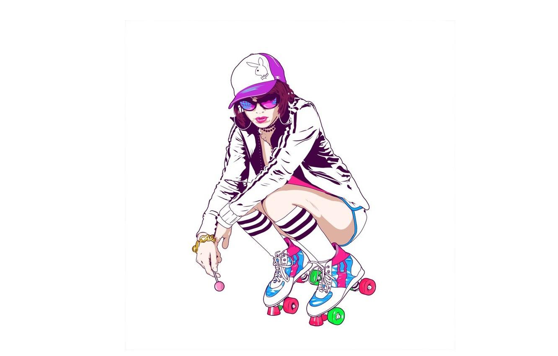 Фото обои девушка, минимализм, playboy, ролики, очки, браслет, кепка, чупа чупс, сидин