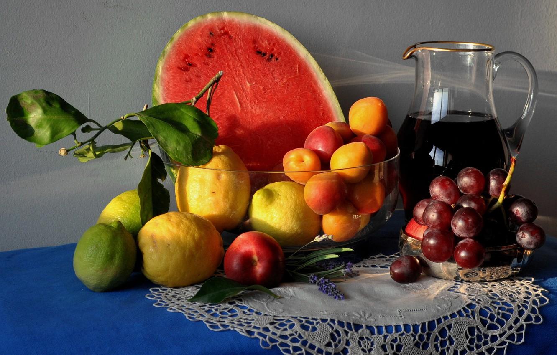 Обои нож, натюрморт, стол, кувшин, цветы, арбуз. Разное foto 18