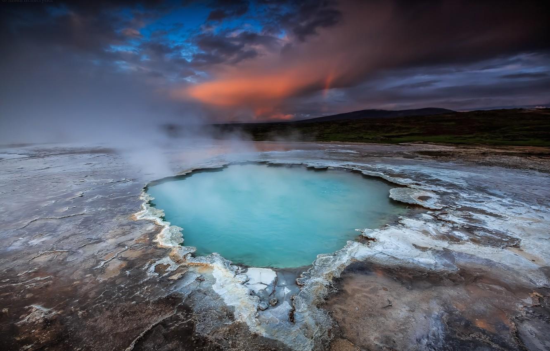 Фото обои небо, вода, закат, горы, озеро, голубое, вулкан, sky, sunset, blue, water, mountains, lake, гейзер, volcano, …