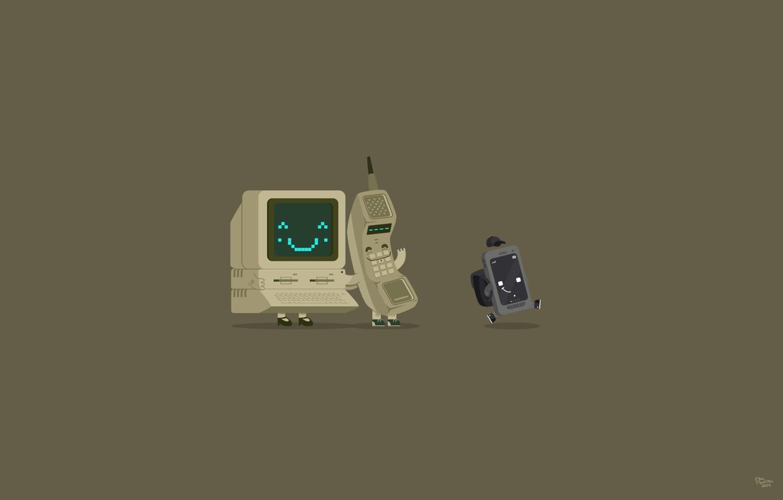 Фото обои компьютер, кеды, трубка, минимализм, телефон, клавиатура, кепка, монитор, рюкзак, мама, сын, папа, смартфон, родители, коммуникатор