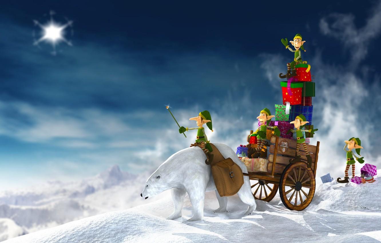 Фото обои белый, новый год, Зима, медведь, подарки, гномы