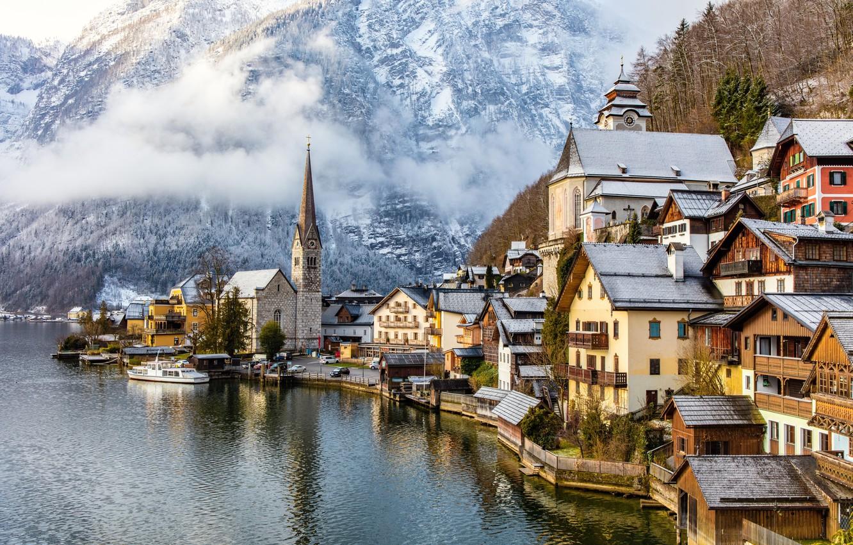 Обои австрия, дома, альпы, гальштат, hallstatt, austria. Города foto 6