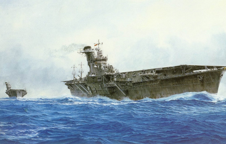 Фото обои корабль, арт, авианосец, флот, военный, японский, WW2, aircraft carrier, IJN, Hiyo, Junto