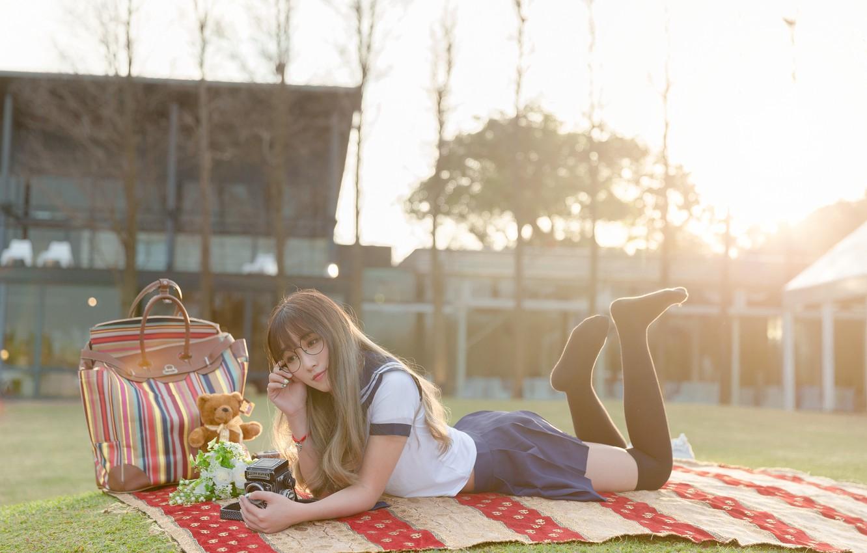 Фото обои лето, девушка, отдых, лежит