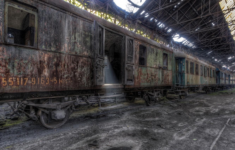 Фото обои поезд, станция, вагоны, лом