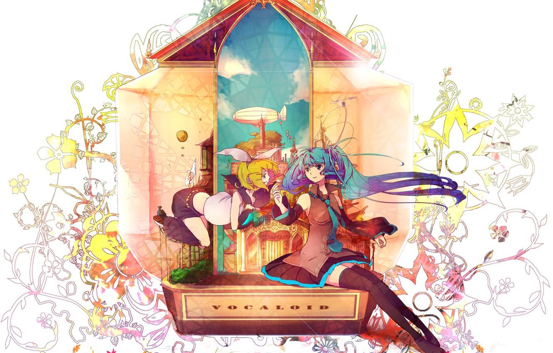 Фото обои девушка, абстракция, аниме, арт, vocaloid, hatsune miku, kagamine rin, chiho, buchiko