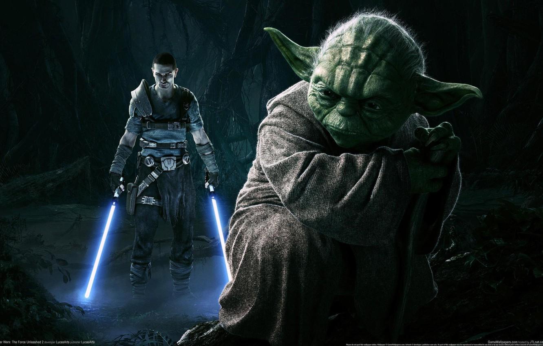 Фото обои Star Wars, Йода, Световые Мечи, The Force Unleashed 2
