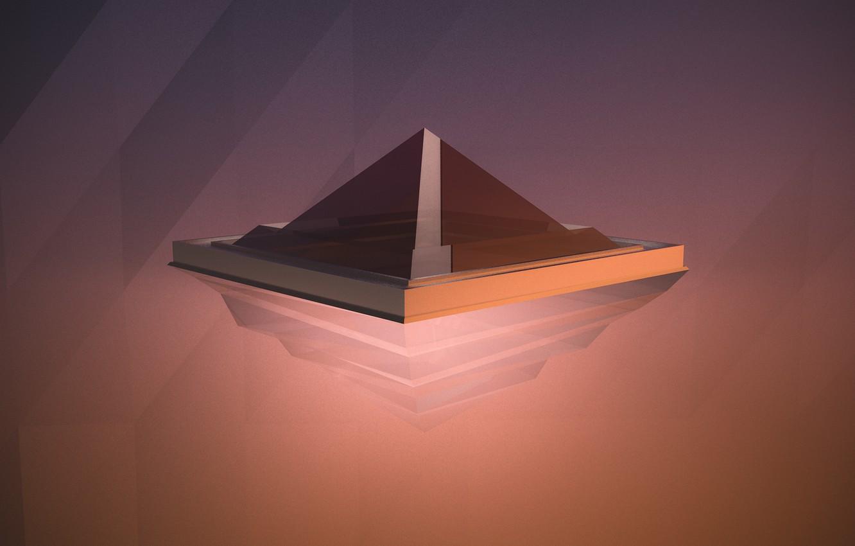 Фото обои абстракции, минимализм, minimal, abstract, пирамида, red, render, рендер, justandycat, maxon