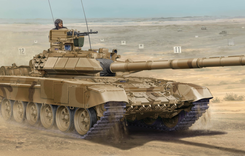 Фото обои war, art, tank, paining, T-90SA Main Tank