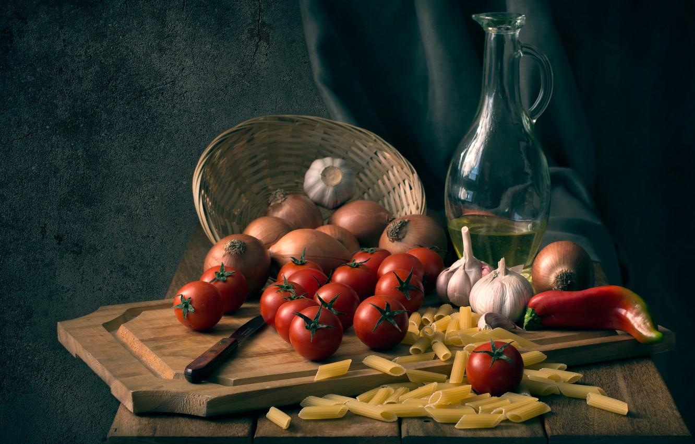 Фото обои лук, нож, доска, перец, помидоры, чеснок, макароны, Buon appetito
