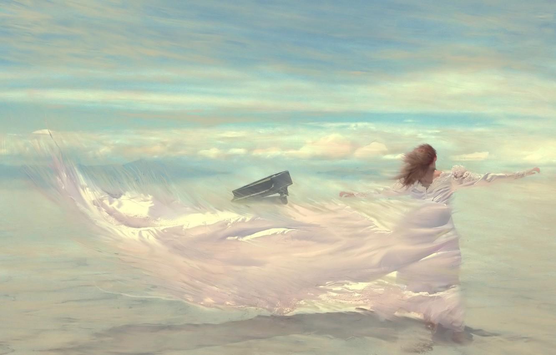 Фото обои небо, девушка, облака, ветер, рисунок, платье, пианино