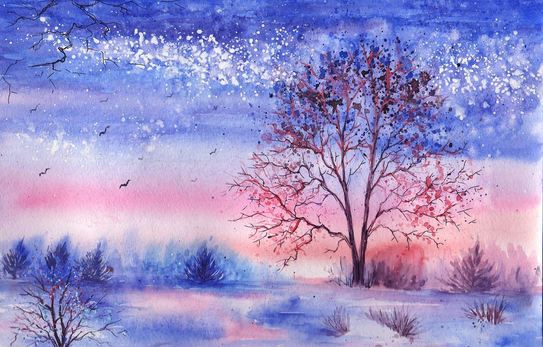 природа акварелью картинки зима это общественные насекомые