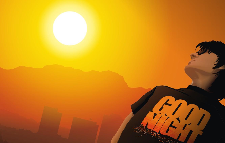 Фото обои солнце, надпись, вектор, Футболка