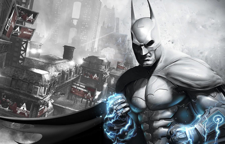 Фото обои город, броня, плащ, гаджет, тюрьма, ток, Batman: Arkham City Armored Edition, трущобы, Готэм, Брюс Вейн, …