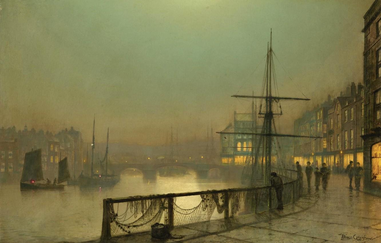 Фото обои небо, мост, река, люди, лодка, корабль, дома, картина, парус, набережная, Whitby, John Atkinson