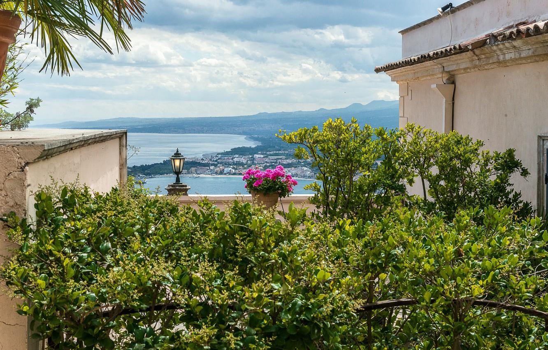 Фото обои Италия, панорама, Italy, panorama, Italia, Sicily, Сицилия, Taormina, Таормина