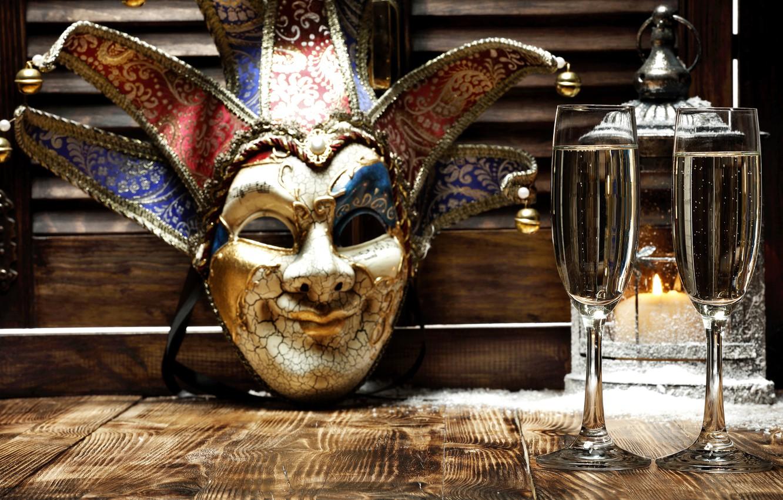 Фото обои Новый Год, маска, бокалы, golden, шампанское, New Year, Happy, champagne, 2016