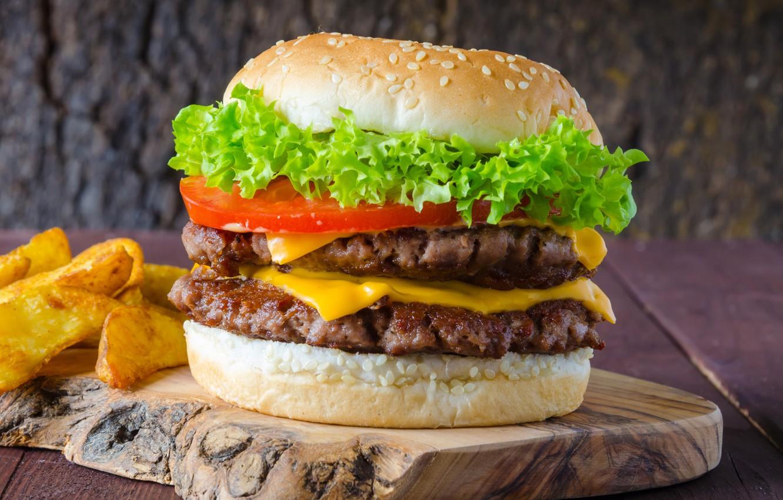 Обои котлета, Сэндвич, hamburger, Meat, Гамбургер, tomatoes, салат, булочка, Fast food, картошка фри, фастфуд, соус. Еда foto 7