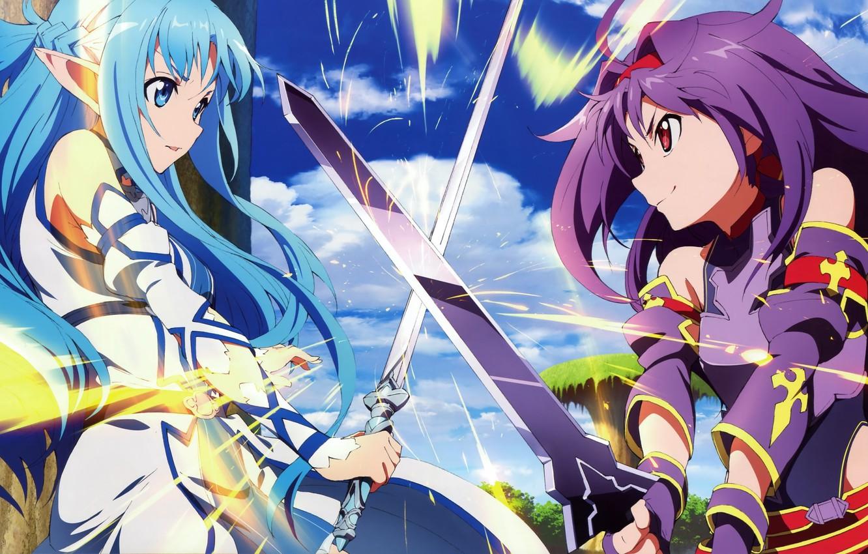 Фото обои sword, game, anime, pretty, asian, manga, pretty girl, japanese, Yuuki Asuna, Sword Art Online, oriental, …