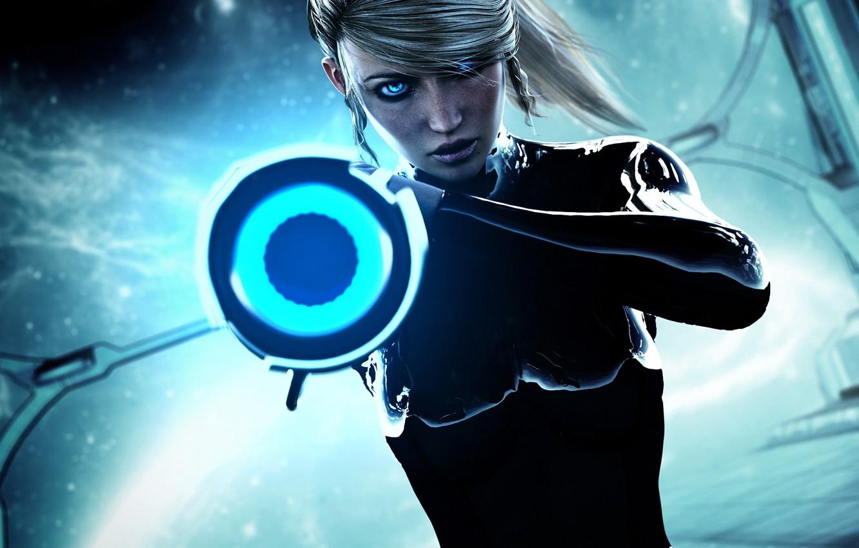 Фото обои девушка, оружие, пушка, samus aran, Metroid
