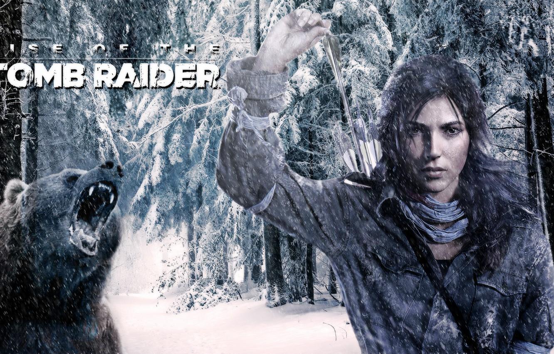 Обои lara croft, tomb raider, Медведь. Игры foto 8