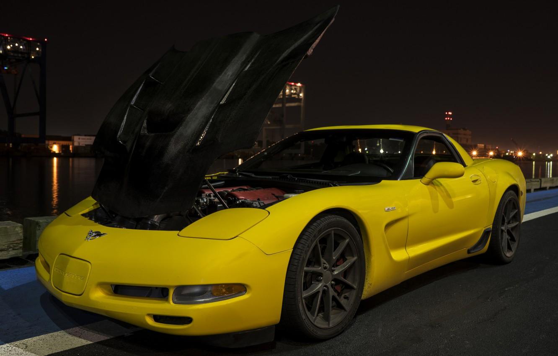 Фото обои набережная, Chevrolet Corvette Z06, Corvette Z06, Chevrolet Corvette C5 Z06