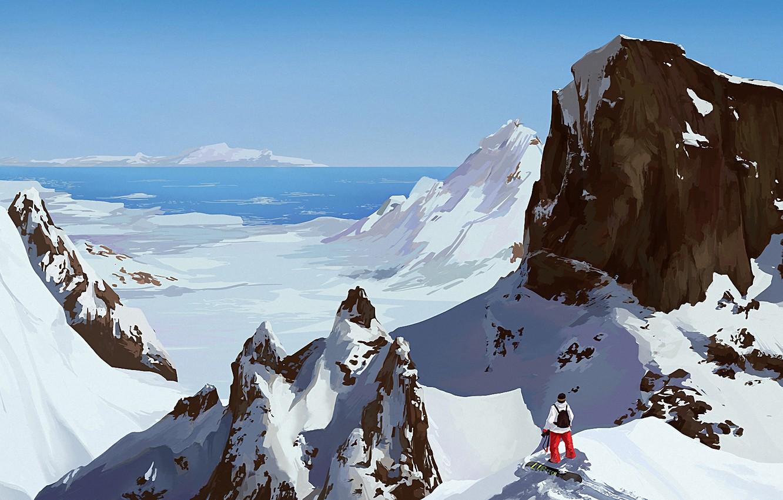 Фото обои море, снег, горы, сноуборд, человек, арт, солнечно