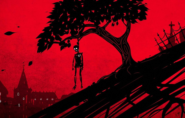 Фото обои листья, дерево, сердце, дома, ограда, арт, скелет, красный фон, висельник