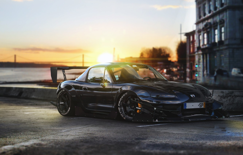 Фото обои Mazda, Front, Black, Time, Tuning, MX-5, Attack