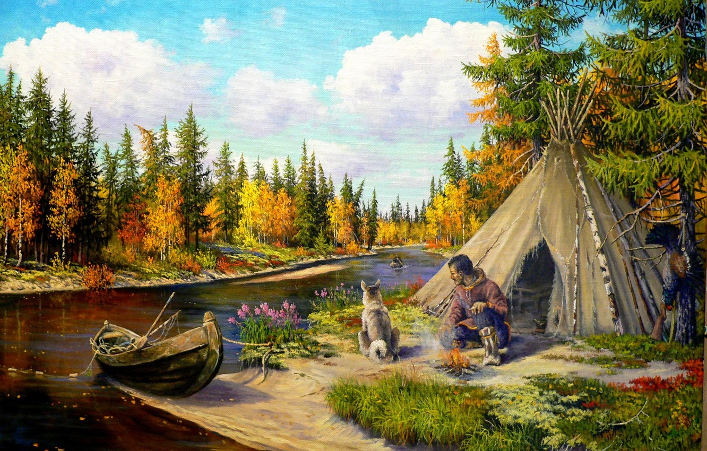 Фото обои природа, река, лодка, собака, арт, тайга, охотник, Андрей Лях