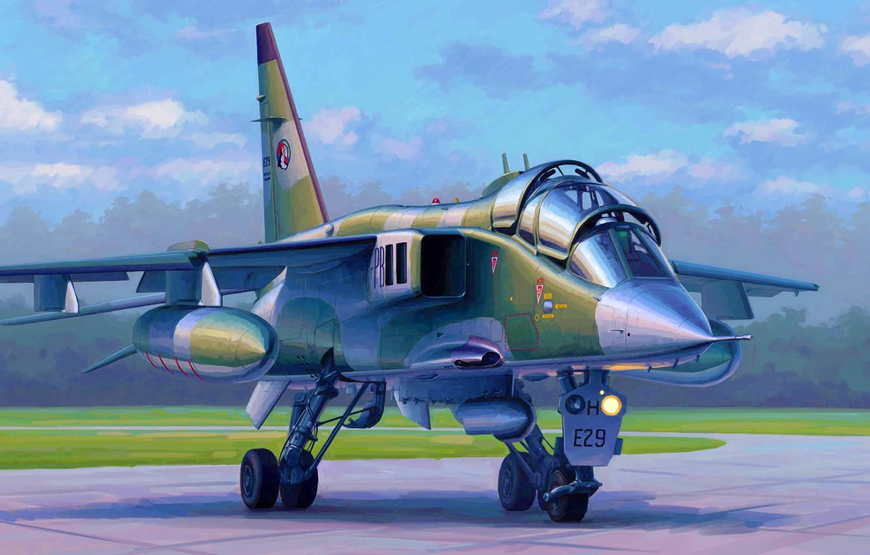 Фото обои art, painting, jet, French Jaguar E