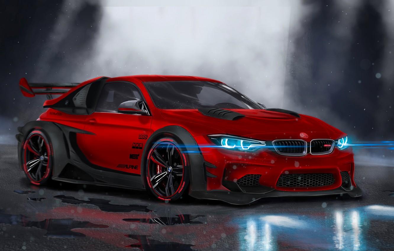 Фото обои BMW, Red, Car, Front, Neon, Sport, Customs