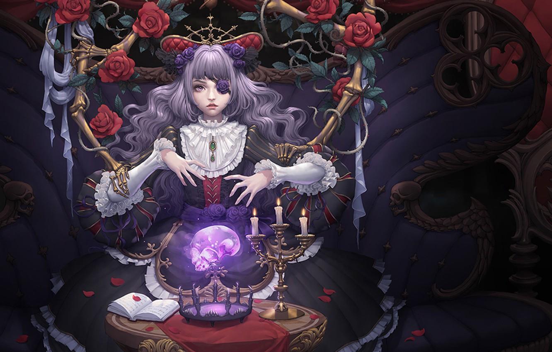 Фото обои девушка, череп, розы, свечи, лепестки
