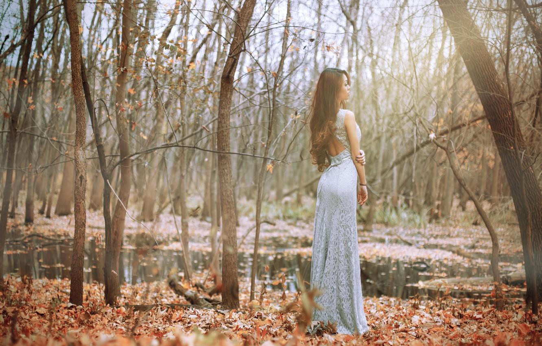 Фото обои осень, девушка, поза